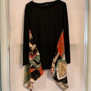 Black shirt with kerchief sides- NWOT